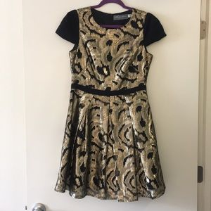 Anthropology black and gold cocktail dress: size 8